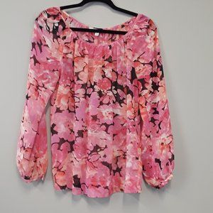CAbi #590 Pink Floral Print Pleated Top Size S